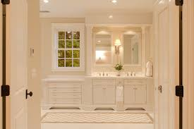 high gloss white bathroom cabinet with traditional wall sconce
