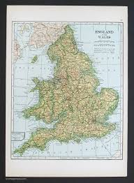 Map Of England And Wales Countries Europe Vintage Maps