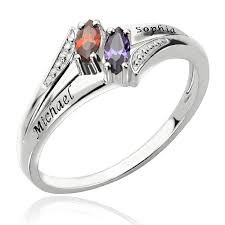 birthstone mothers ring two name birthstones s ring