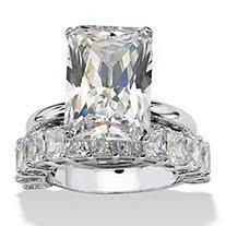 emerald cut wedding set wedding rings wedding ring sets cubic zirconia wedding rings