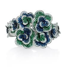 bracelet diamond sapphire images Ct diamond sapphire and tsavorite 18k white gold floral bangle jpg