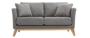 canap miliboo canapé scandinave 2 places gris clair déhoussable et pieds bois
