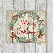 rustic christmas rustic christmas wreath print merry from dorindaart on etsy