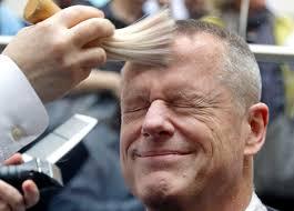 gov baker gets head shaved to support charity wbur news
