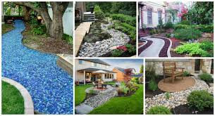 Fake Rocks For Gardens by 12 Dry River Bed Landscaping Made Of Glass U0026 River Rocks Top