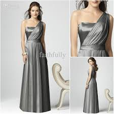 silver gray one shoulder maid of honor dresses sleeveless floor