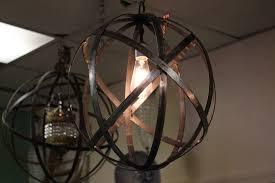Globe Ceiling Light Industrial Metal Strap Hanging Lantern Globe The Lighting Palace