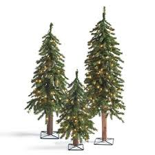 pre lit evergreen alpine tree set of three grandin road