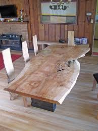 cool wood slab dining table