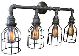 awesome felix 4 light cage vanity fixture industrial bathroom