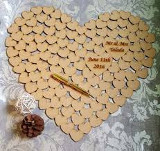 heart guest book wooden heart shaped wedding guest book made up of hearts for your