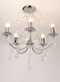 sapparia 5 light flush chandelier bhs chrome and crystal glass