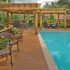 Deck Plans With Pergola by Low Maintenance Pool Deck With Cedar Pergola Archadeck Outdoor