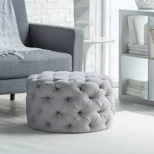 round upholstered ottoman roselawnlutheran belham living allover round tufted ottoman grey ottomans at hayneedle