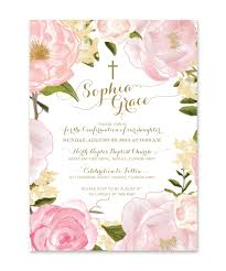 confirmation invitation grace confirmation invitation for pink roses peonies
