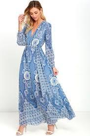 wondrous water lilies periwinkle blue paisley print maxi dre