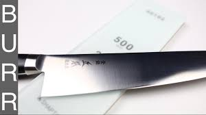 sharpen kitchen knives how to sharpen masamoto vg chef knife with 70 30 bevel youtube