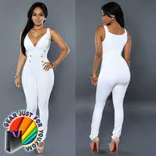 white romper jumpsuit curve exposing v neckline terylene bodycon romper