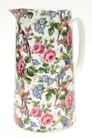 pitcher of roses 1920s 30s vintage chintz china pitcher birds roses