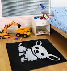 4 x 6 ft all black kids bedroom area rug with white dog design all black kids bedroom area rug with white dog