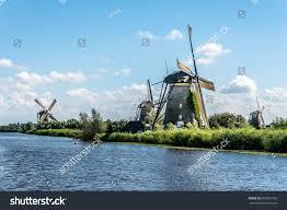 beautiful dutch windmill landscape kinderdijk netherlands stock