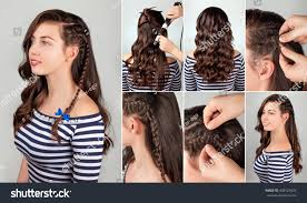 oneside hairstyle on curly hair tutorial stock photo 408123634
