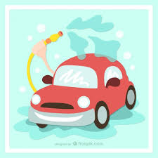 washing your car cartoon vector free download