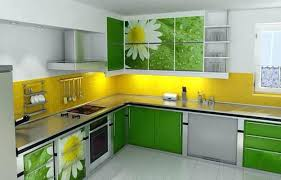Modern Kitchen With White Appliances Kitchen Cabinets Colors And Designs Contemporary Digital Prints
