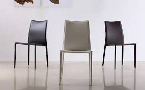 Beige Leather Dining Chairs Marengo Leather Contemporary Dining Chair In Black Brown Or White