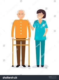 young female nurse helping senior man stock vector 619923806