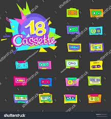 1990s interior design collection cartoon audio cassettes 1980s 1990s stock vector