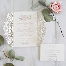 invitation kits luxury pale gold and blush pink floral laser cut wedding