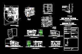 free 3 modern houses design dwg 02 architecture design