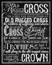 The Old Rugged The Old Rugged Cross Hymn Chalkboard Style