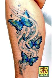 blue and yellow butterfly on side leg