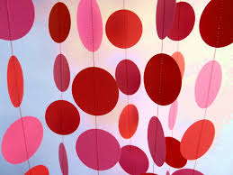 Valentines Day Decoration Valentine U0027s Day Decor Pink And Red Circle Paper Garland
