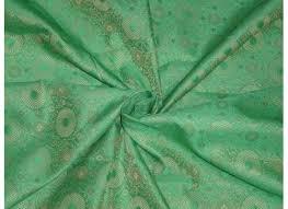 spun silk brocade fabric pista green color 44