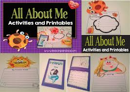 all about me first week of activities first day jitters