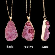 natural quartz crystal necklace images New hot sale irregular natural stone quartz crystal necklace slice jpg