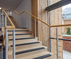 wood effect handrails and balustrade chosen at college project neaco