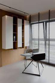 Kleiner Schreibtisch Schwarz Farbe Greige Und Helles Holz In Einer Modernen Wohnung