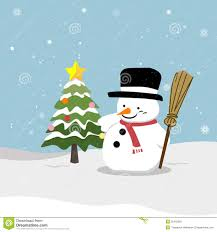 snowman christmas tree snowman with christmas tree stock vector illustration of