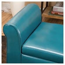 Leather Storage Ottoman Bench Torino Faux Leather Armed Storage Ottoman Bench Teal Christopher