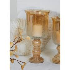 Hurricane Candle Holders Gold Tinged Glass Hurricane Candle Holder 24625 The Home Depot