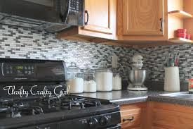 Kitchens With Tile Backsplashes Thrifty Crafty Easy Kitchen Backsplash With Smart Tiles
