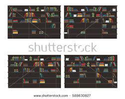 Classic Bookshelves - set bookshelves filled books classic bookcases stock vector