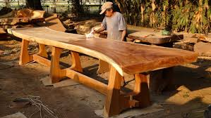 wood slab table legs vic vanderkooi mesas de samán pinterest dinning table legs