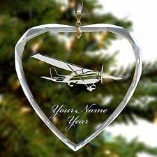personalized engraved glass ornament cessna 172 airplane