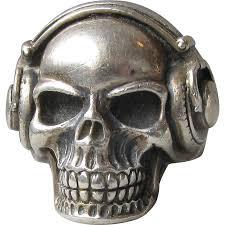 vintage halloween skeleton vintage unisex sterling silver skull with headphones gothic biker