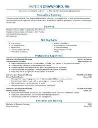 resume exles for registered registered resume intensive care resume sle
